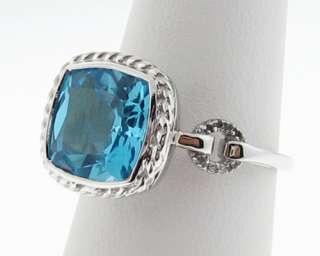 Estate Blue Topaz Diamonds Solid 14k White Gold Ring