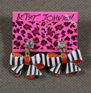 Betsey Johnson Bow bowknot Necklace ring Earrings Set