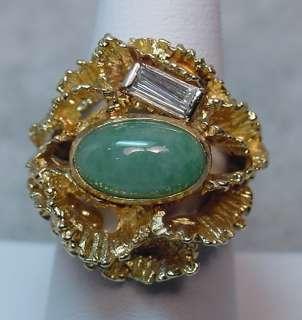 Unique Exquisite Custom Designed Jade & Diamond Ring
