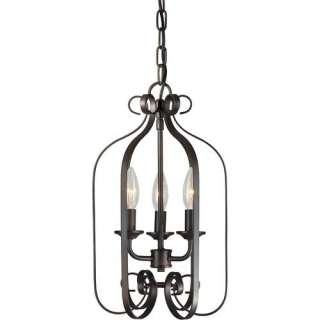 Forte Lighting Three Light Foyer Pendant in Antique