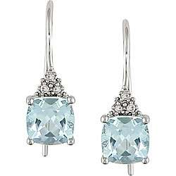 10k White Gold Blue Topaz and Diamond Earrings