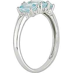10k White Gold Blue Topaz and Diamond Accent Ring