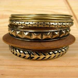 Bronze Filigree Fashion Jewelry Cuff Bracelet Bangle Set H