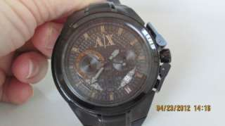 1050 Men Stainless Steel Black Rubber Strap Chronograph Watch