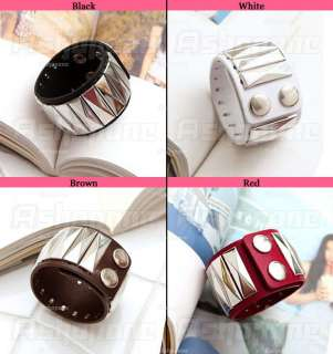 New Fashion Leather Steel Stud Wide Wrap Belt Bracelet Wristband