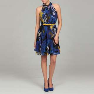 Miss Sixty Womens Blue Floral Print Belted Dress