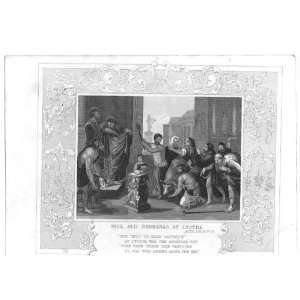 Bible Paul & Barnabas At Lystra Antique Print