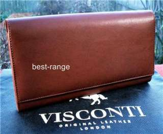 QUALITY VISCONTI XL TRAVEL PASSPORT WALLET BROWN soft REAL LEATHER