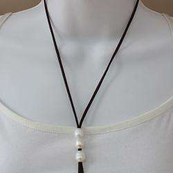 Handknotted White Freshwater Pearls Suede Lariat Necklace (10mm) (USA