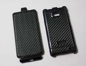 ON SALE) Black Carbon Fiber Leather Flip Hard Case For Samsung Galaxy
