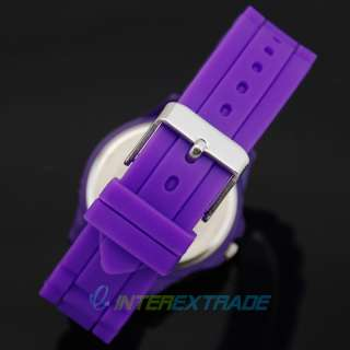 10pcs Pretty Purple Silicone Heart Crystal Sport Girl Lady Wrist Watch