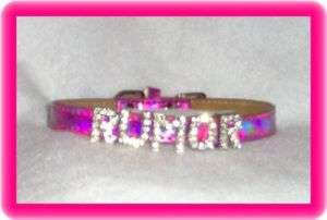 Tiny Shimmer Pink Leather Dog Collar 7 10 in Rhinestone letters