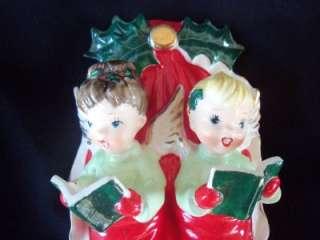 VTG NAPCO CHRISTMAS BOY GIRL ANGEL CAROLERS WALL PLAQUE