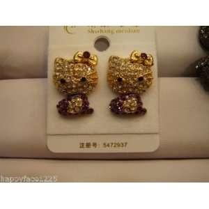 Sparkle Hello Kitty Earrings Austrian Crystals