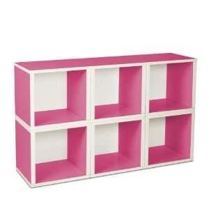 6 Stackable Open Modular Eco Storage Cubes (Pink/White