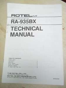 Rotel Service/Technical Manual~RA 935BX Amplifier~Original