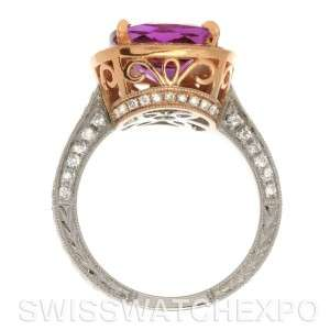 14k Yellow and White Gold Amethyst Diamond Ring