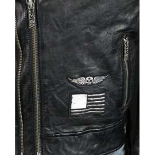 Mens Affliction Leather Jacket Black Premium REBORN Limited Edition