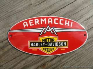 SUPERB VINTAGE OVAL AERMACCHI HARLEY DAVIDSON ENAMEL METAL SIGN PLAQUE