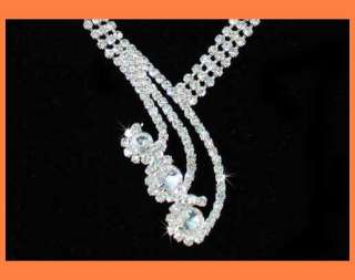 PRINCESS CLEAR AUSTRIAN RHINESTONE NECKLACE EARRINGS SET BRIDAL