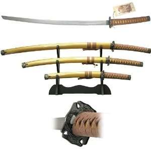 00 7X39   Gold Samura 3 pc Sword Set