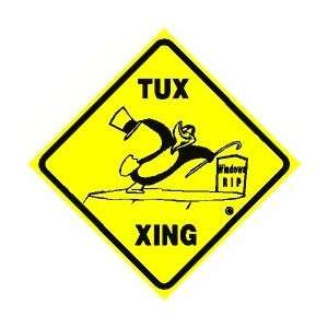 TUX CROSSING sign * linux on windows grave: Home & Kitchen