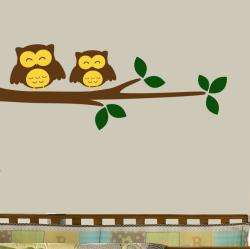 Vinyl Happy Owls on a Branch Wall Decal