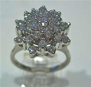 LADIES VINTAGE 14K WHITE GOLD DIAMOND CLUSTER RING