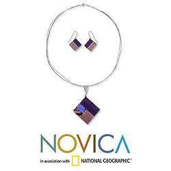Purple Dream Dichroic Art Glass Jewelry Set (Mexico)  Overstock