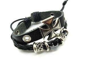 Mens Alloy CROSS Links Genuine leather bracelet PUNK