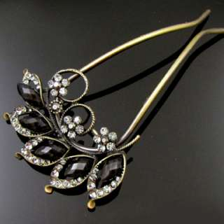 SHIPPING 1pc Austrian rhinestone crystal flower hair fork Fork