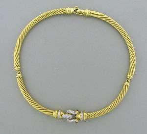 DAVID YURMAN 18K GOLD 7mm CABLE DIAMOND RUBY BUCKLE NECKLACE