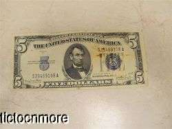 US 1934 D 1934D $5 FIVE DOLLAR BILL SILVER CERTIFICATE SMALL NOTE BLUE