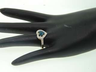 LADIES YELLOW GOLD BLUE HEART DIAMOND ENGAGEMENT RING WEDDING BAND