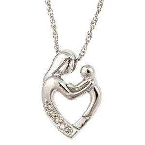 Diamond Mother Child Pendant w/ Necklace 18 10k White Gold