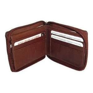 Genuine Leather Zipper Bi Fold Mens Wallet Card Currency