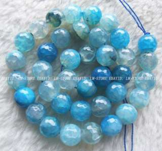 10mm Blue Dragon Veins Agate Faceted Round Beads 14