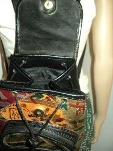 FAUX Leather Mini Backpack Purse Vegan Shoulder Bag Hippie EUC