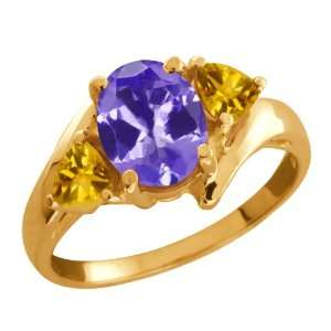 1.56 Ct Oval Blue Tanzanite and Citrine Gold Plated