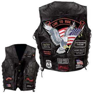 Genuine Leather Motorcycle Biker Vest with 14 Patches Sizes M L XL 2X