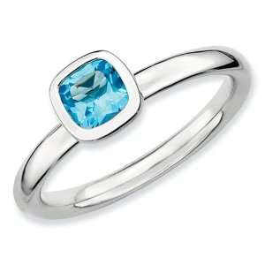 Stackable Expressions Sterling Silver Cushion Cut Blue Topaz Stackable