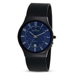 Skagen Mens Slim Black Titanium Sunray Blue Dial Watch