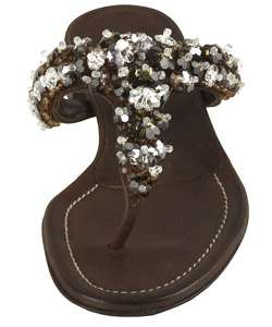 Prada Brown Leather Jeweled Thong Sandals