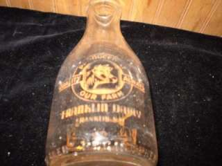 Franklin Dairy, 1 Qt, Glass, Milk Bottle