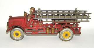Early Hubley Cast Iron Fire Ladder Truck w/ Cast in Driver Nice! NO