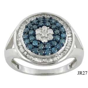00 CTW NATURAL WHITE & BLUE DIAMOND RING SIZE 8
