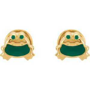 Genuine IceCarats Designer Jewelry Gift 14K Yellow Gold Green Enamel