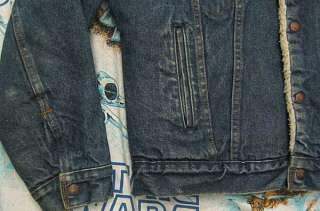 vtg Levis SHERPA LINED 80s Dark BLUE DENIM Jacket M 38R 38 reg usa
