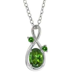 0.91 Ct Oval Green Tourmaline and Green Diamond Sterling
