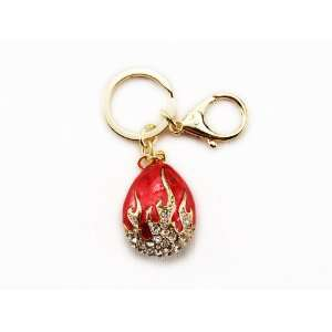 Fire Red Enamel Painted Crystal Rhinestone Flame Balloon Charm Pouch